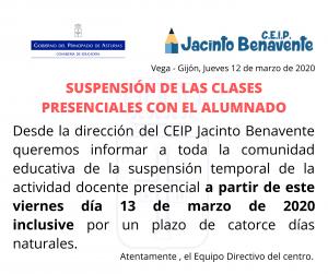 SUSPENSION TEMPORAL DE LA ACTIVIDAD DOCENTE PRESENCIAL_13032020